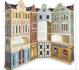 Libreria decorada simulando edificios de Paises Bajos