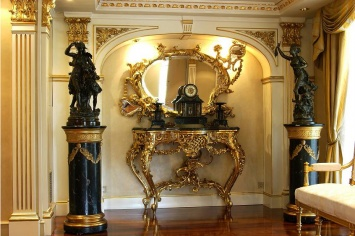 522 GOLD CONSOLE AND MIRROR