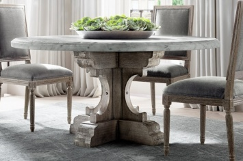 RUSTIC DINING TABLE WITH MARBLE OR WOODEN