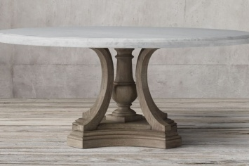 ROUND DINING TABLE WITH THE COVER IN MARBLE AND THE FOOT IN NATURAL WOOD, WITH THE POSSIBILITY TO MAKE ALSO THE TOP IN WOOD