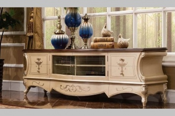 839 SILVER AND WHITE TV FURNITURE